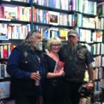 Two of the Gypsy Joker gentlemen with a fan at Avon Lovell's LITANY OF LIES Book Launch at Elizabeth's Subi Sun 13th March