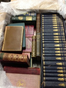 A box full of delicious antiquarian books from somewhere in deepest darkest Dorset. (Nice alliteration!)