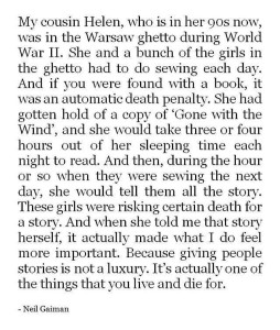 "Neil Gaiman on ""Gone with the Wind"" in the Warsaw ghetto in World War II"